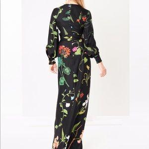 Oscar de la Renta Draped Botanical Silk-twill